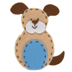 Dog Shaped Finger Puppet Felt Appliqu?® Craft Kit Needlecraft Kits Canvases 9 cm - Hobby & Crafts