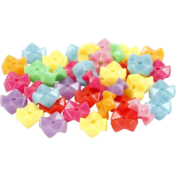2200 x Assorted Colour Plastic Shaped Beads Jewellery Making Supply Crafts 9.5mm - Hobby & Crafts
