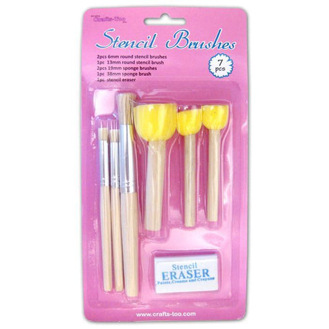 Crafts Too Assorted Stencil Brushes With Eraser For Craft Paint Decoration - Hobby & Crafts
