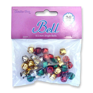 36 x Crafts Too Colourful Jingle Bells For Craft And Decoration 9.5 mm - Hobby & Crafts