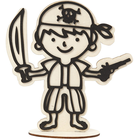 EVA Foam Pirate Motif Wooden Figure With Stand Paint Clay Decoration Crafts 17cm - Hobby & Crafts