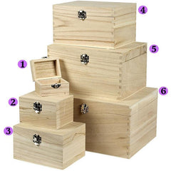 Wooden Treasure Chests Storage Metal Clasps Box Set To Decorate - Choose Size - Hobby & Crafts