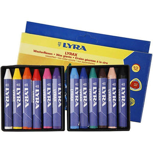12 x Lyra Triangular Shaped Assorted Colour Wax Crayons For Colouring 9 cm - Hobby & Crafts