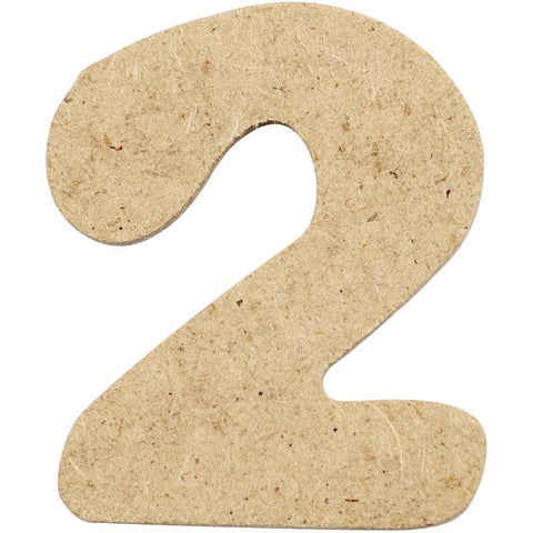 10 x Pre Punched MDF Wooden Number 4 cm - Digit 2 - Hobby & Crafts