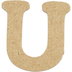 10 x Pre Punched MDF Wooden Letter 4 cm - Initial U - Hobby & Crafts