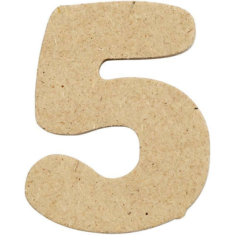 10 x Pre Punched MDF Wooden Number 4 cm - Digit 5 - Hobby & Crafts
