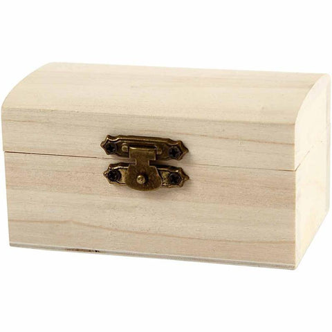Wooden Treasure Chest Storage Box 9cm Decorate or Paint - Hobby & Crafts