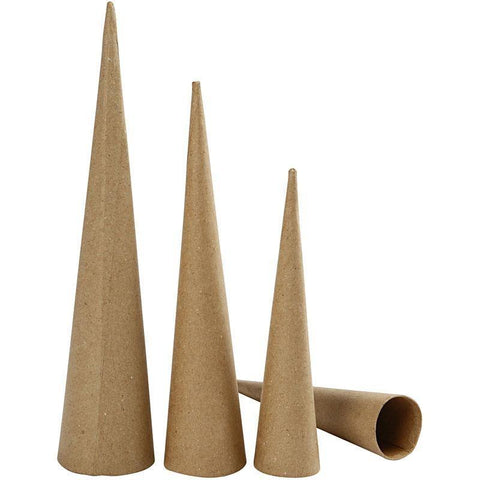 3 x Round Tall Cones 30cm 40cm 50cm Craft Hand Made Paper Mache Create/Decorate - Hobby & Crafts