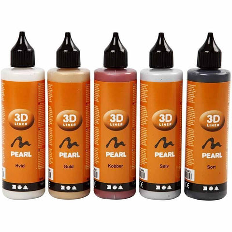 3D Liner Assorted Metallic Colour Paint For Cardboards Fabrics Painting 5 x 100 ml - Hobby & Crafts
