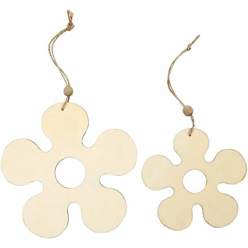 2 Light Wood Flower Shape Ornaments Decoration Craft - Hobby & Crafts