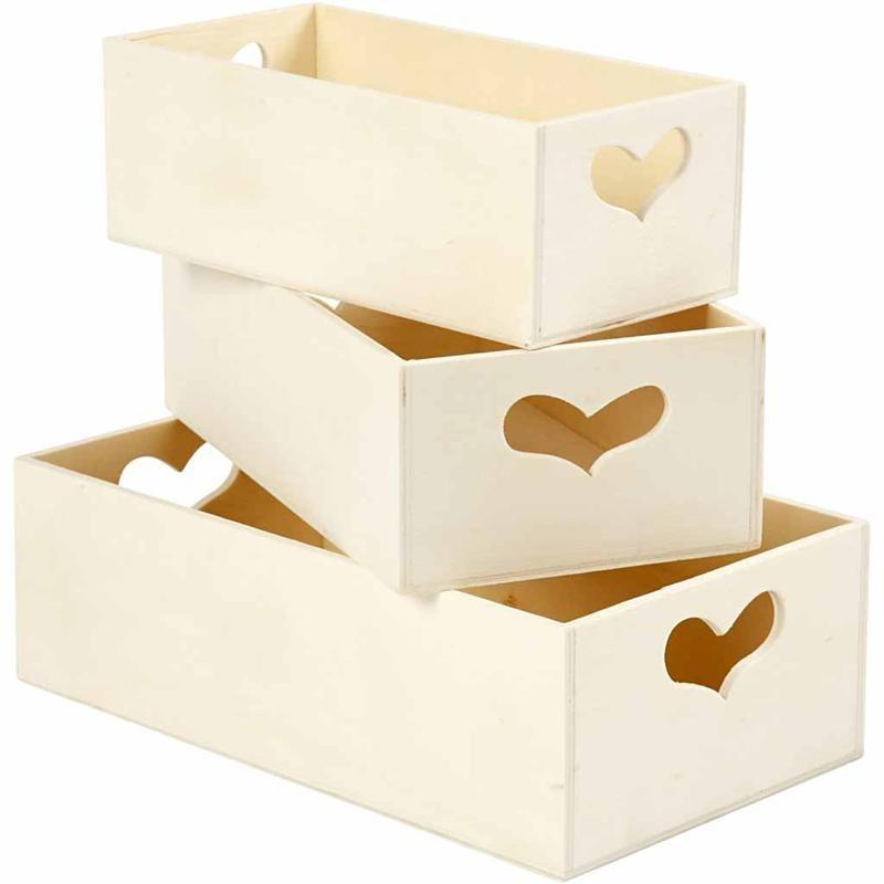 3 Practical Storage Wooden Boxes With Heart Handle Decoration Craft - Hobby & Crafts