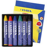 6 x Lyra Triangular Shaped Assorted Colour Wax Crayons For Colouring 9 cm - Hobby & Crafts
