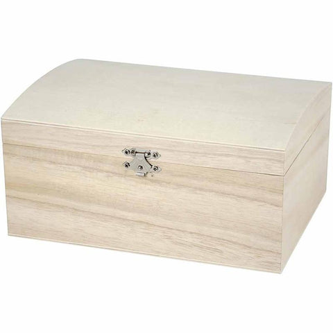 Wooden Treasure Chest Storage Box 22cm Decorate or Paint - Hobby & Crafts