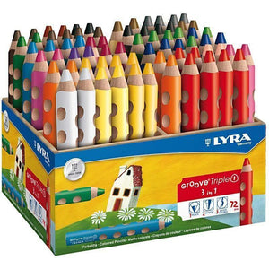 72 x Lyra 3 in 1 Assorted Colour Colouring Pencils 12 cm - Hobby & Crafts