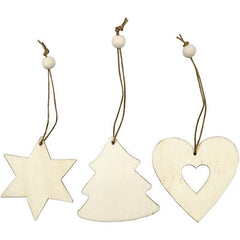 Light Wood Heart Star Christmas Tree Shaped Ornaments Decoration Craft - Hobby & Crafts