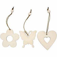 Light Wood Flower Butterfly Heart Shaped Ornaments Decoration Craft - Hobby & Crafts