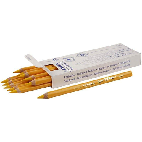 12 x Lyra Super Ferby Triangular Shaped Yellow Colour Pencils 18 cm - Hobby & Crafts
