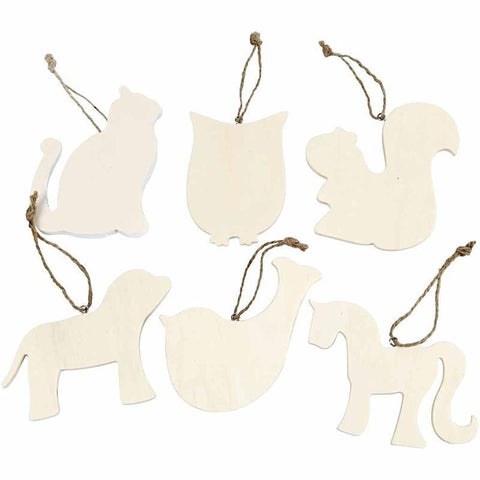 6 Poplar Tree Wood Animal Shaped Ornaments Decoration Craft - Hobby & Crafts