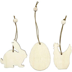Light Wood Rabbit Egg Hen Shaped Ornaments Decoration Craft - Hobby & Crafts