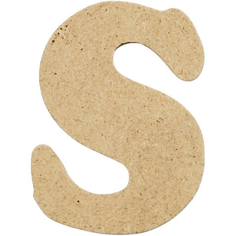 10 x Pre Punched MDF Wooden Letter 4 cm - Initial S - Hobby & Crafts