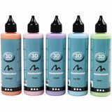 3D Liner Assorted Transparent Colour Paint For Cardboards Fabrics Painting 5 x 100 ml - Hobby & Crafts