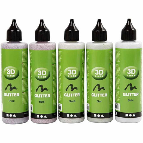 3D Liner Assorted Glitter Colour Paint For Cardboards Fabrics Painting 5 x 100 ml - Hobby & Crafts
