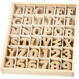 Wooden Box With MDF Wood Letters Numbers Decoration Craft 4 cm - Hobby & Crafts