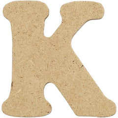 10 x Pre Punched MDF Wooden Letter 4 cm - Initial K - Hobby & Crafts