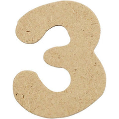 10 x Pre Punched MDF Wooden Number 4 cm - Digit 3 - Hobby & Crafts