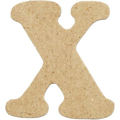 10 x Pre Punched MDF Wooden Letter 4 cm - Initial X - Hobby & Crafts