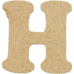 10 x Pre Punched MDF Wooden Letter 4 cm - Initial H - Hobby & Crafts
