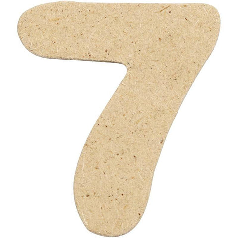 10 x Pre Punched MDF Wooden Number 4 cm - Digit 7 - Hobby & Crafts