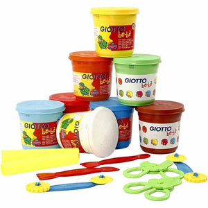 8 x Assorted Colour Modelling Clay Bucket With Plastic Tools Pack For Children - Hobby & Crafts