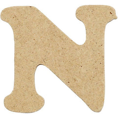 10 x Pre Punched MDF Wooden Letter 4 cm - Initial N - Hobby & Crafts
