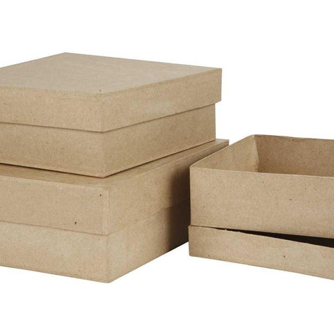 3 Large Square Shaped Boxes Craft Storage Brown Paper Mache Create Decorate Hand Made - Hobby & Crafts