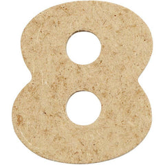 10 x Pre Punched MDF Wooden Number 4 cm - Digit 8 - Hobby & Crafts