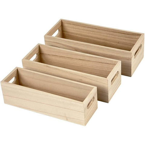 3 Elegant Wooden Fruit Boxes With Drilled Handle Decoration Craft - Hobby & Crafts