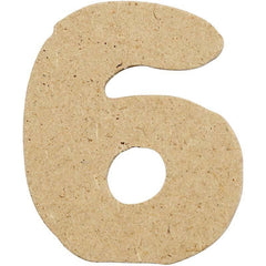 10 x Pre Punched MDF Wooden Number 4 cm - Digit 6 - Hobby & Crafts