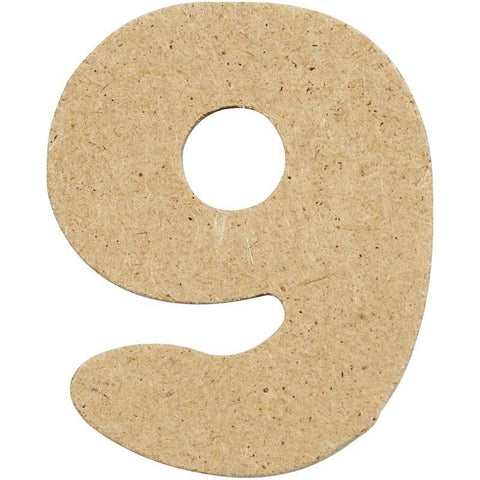 10 x Pre Punched MDF Wooden Number 4 cm - Digit 9 - Hobby & Crafts