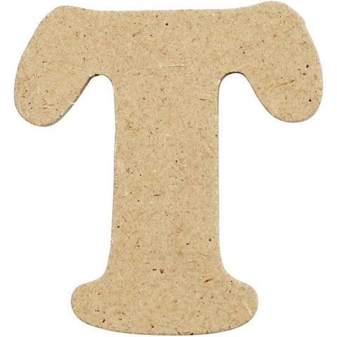 10 x Pre Punched MDF Wooden Letter 4 cm - Initial T - Hobby & Crafts