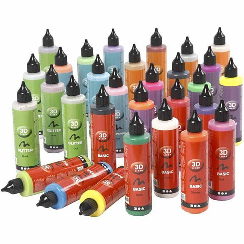 3D Liner Assorted Colour Paint For Cardboards Fabrics Painting 30 x 100 ml - Hobby & Crafts