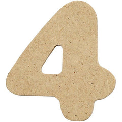 10 x Pre Punched MDF Wooden Number 4 cm - Digit 4 - Hobby & Crafts