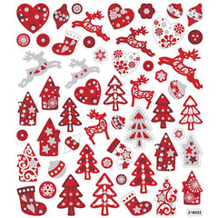 Colourful Scandinavian Christmas Glitter Stickers Self Adhesive Embellishment Decoration Craft - Hobby & Crafts