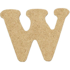 10 x Pre Punched MDF Wooden Letter 4 cm - Initial W - Hobby & Crafts