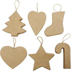 12 x Assorted Hanging Christmas Decoration Tree Star Hearts Stocking Stick - Hobby & Crafts