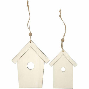2 Light Wood Bird House Ornaments Decoration Craft - Hobby & Crafts