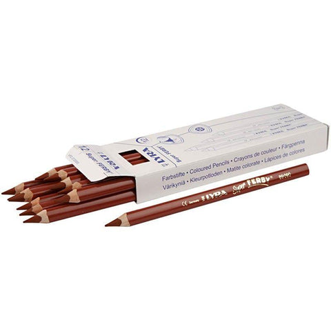 12 x Lyra Super Ferby Triangular Shaped Light Brown Colour Pencils 18 cm - Hobby & Crafts