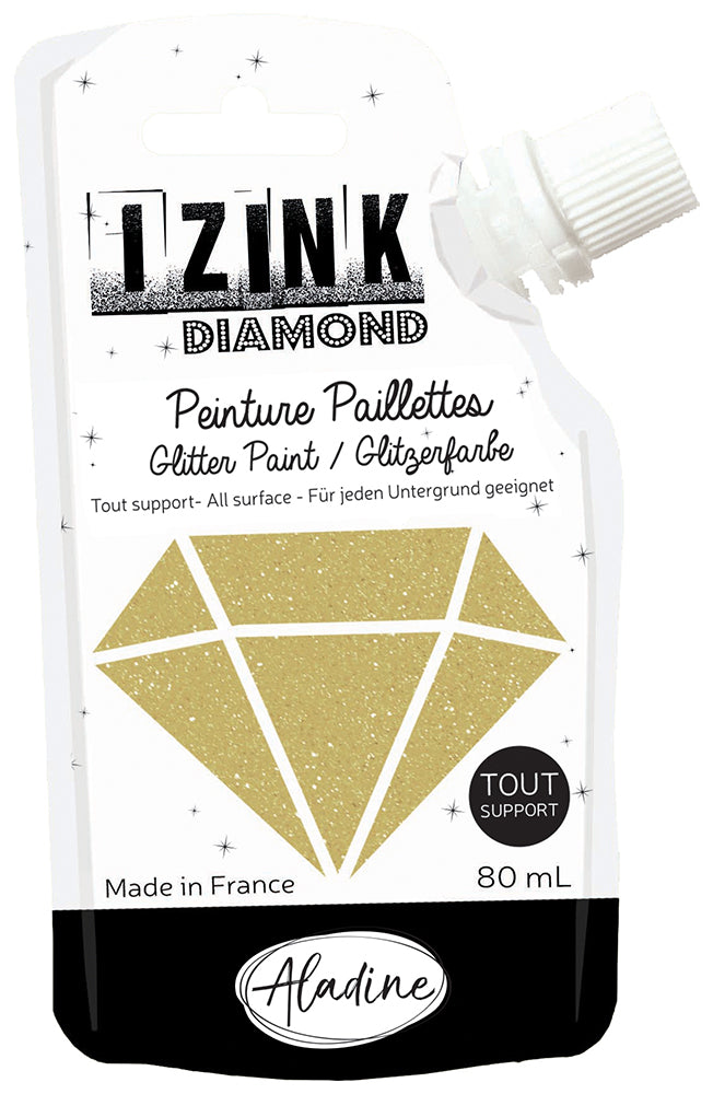 Aladine Assorted Colour Diamond Izink Glitter Paint Paste Card Paper Glass Crafts 80 ml - Hobby & Crafts