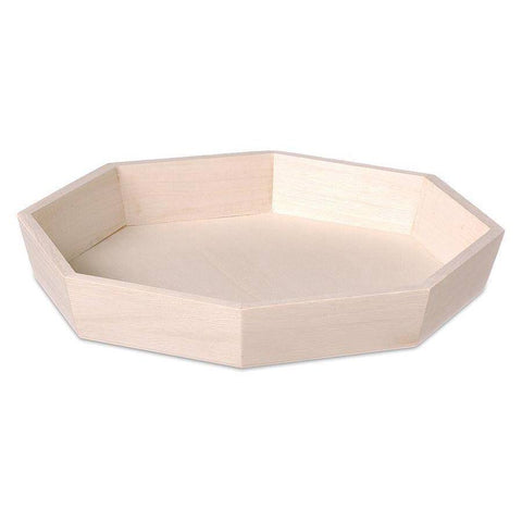 Wooden Octagonal Tray Natural Serving 22.5 x 4cm Display Paint Craft Decorate - Hobby & Crafts