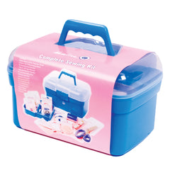 Deluxe Plastic Sewing Box With Carry Handle With Sewing Accessories - Hobby & Crafts
